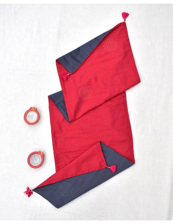 Red 'n' Grey Silk reversible festive table runner ; HTR14-HTR14