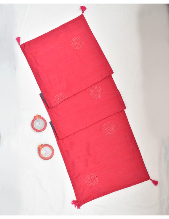 Red 'n' Grey Silk reversible festive table runner ; HTR14-1