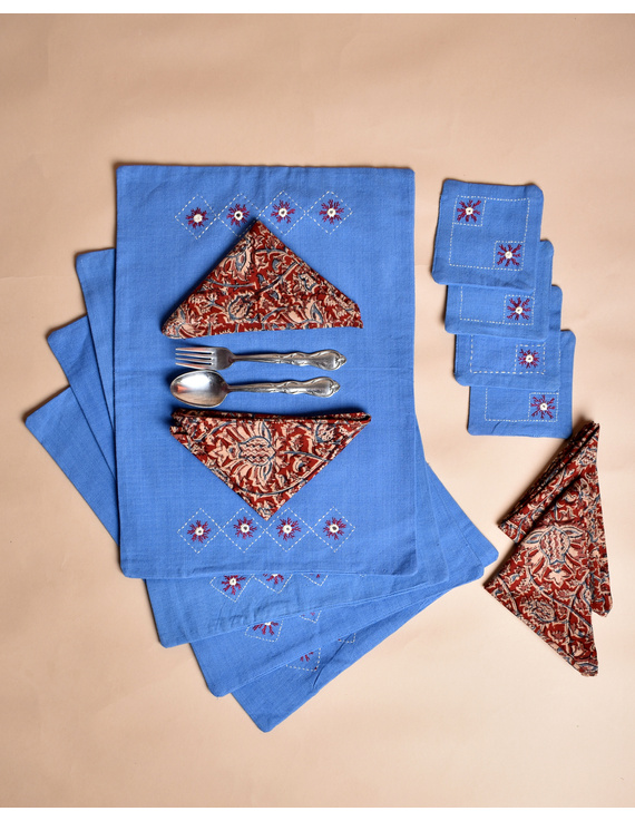 Blue cotton embroidered table mat set with coasters and kalamkari napkins : HTM07-Four-1