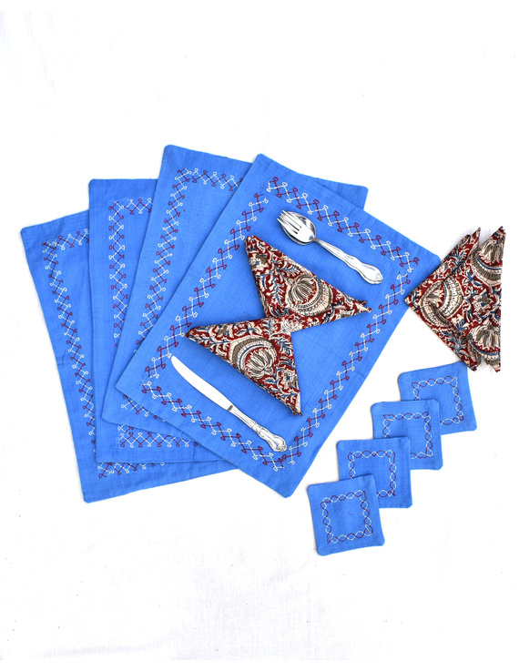Blue cotton embroidered table mat set with coasters and kalamkari napkins : HTM08-Four-1