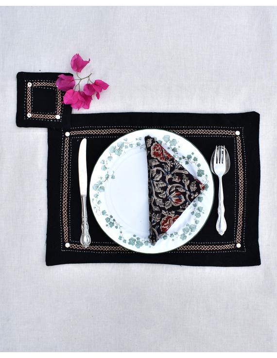 Black cotton embroidered table mat set with coasters and kalamkari napkins : HTM09-HTM0904