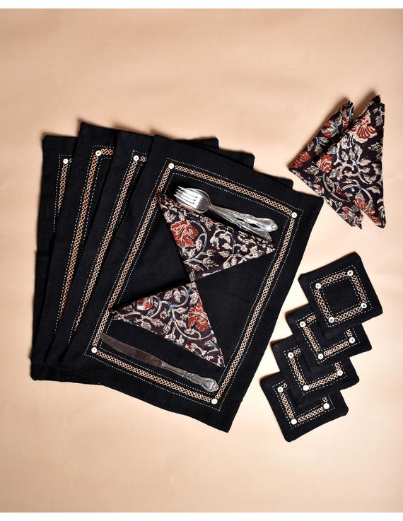 Black cotton embroidered table mat set with coasters and kalamkari napkins : HTM09-Four-1