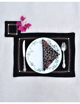 Black cotton embroidered table mat set with coasters and kalamkari napkins : HTM09-HTM0906-sm