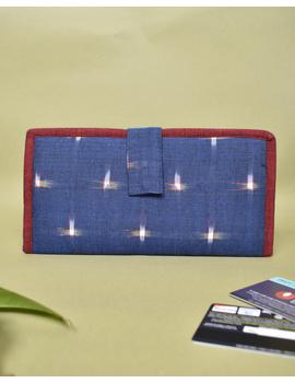 Blue ikat and jute ladies wallet: WLL05-WLL05-sm