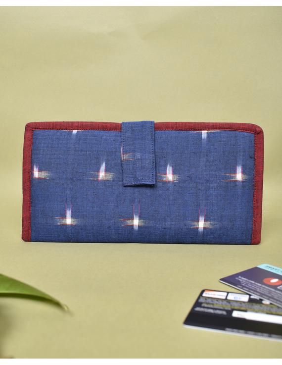 Blue ikat and jute ladies wallet: WLL05-WLL05