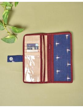 Blue ikat and jute ladies wallet: WLL05-1-sm
