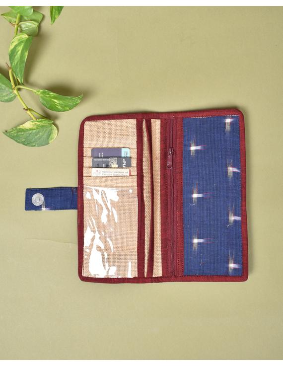 Blue ikat and jute ladies wallet: WLL05-1