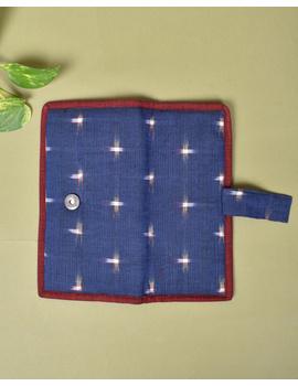 Blue ikat and jute ladies wallet: WLL05-2-sm