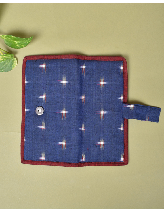 Blue ikat and jute ladies wallet: WLL05-2