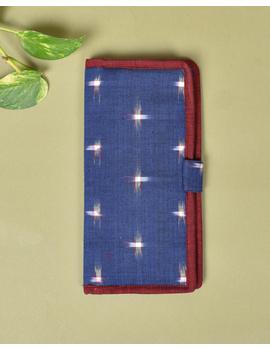 Blue ikat and jute ladies wallet: WLL05-3-sm