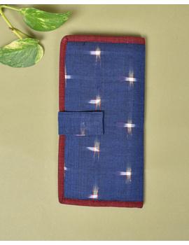 Blue ikat and jute ladies wallet: WLL05-4-sm