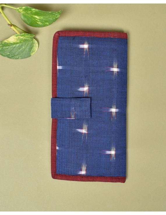 Blue ikat and jute ladies wallet: WLL05-4