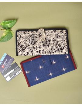 Blue ikat and jute ladies wallet: WLL05-5-sm