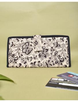 Black kalamkari and jute ladies wallet: WLL06-WLL06-sm
