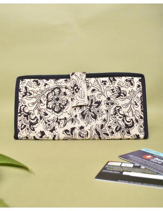 Black kalamkari and jute ladies wallet: WLL06-WLL06