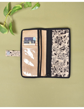 Black kalamkari and jute ladies wallet: WLL06-1-sm