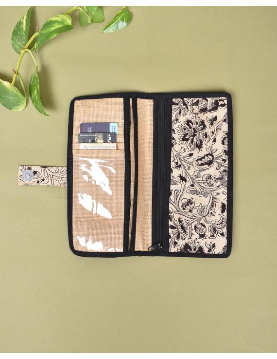 Black kalamkari and jute ladies wallet: WLL06-1
