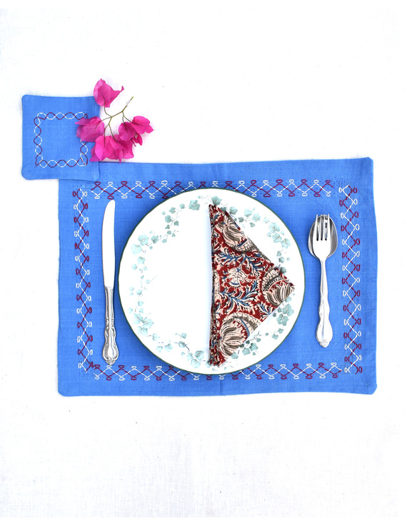 Blue cotton embroidered table mat set with coasters and kalamkari napkins : HTM08-Four-2