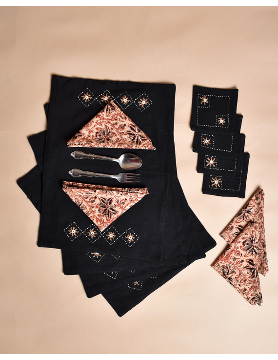 Black cotton embroidered table mat set with coasters and kalamkari napkins: HTM10D-Four-1