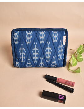 Blue And White Ikat Jewellery Case with 4 Zip Pockets : VKJ04-VKJ04-sm