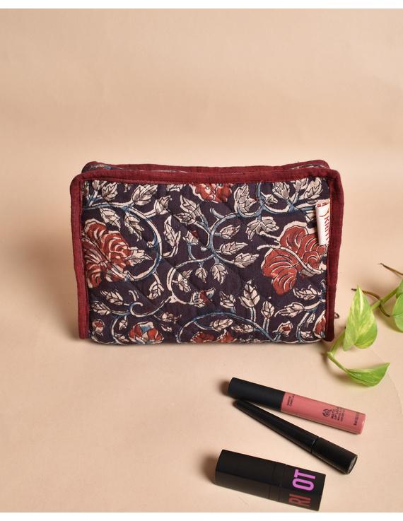 Maroon And Brown Kalamkari Jewellery Case with 4 Zip Pockets : VKJ05-VKJ05