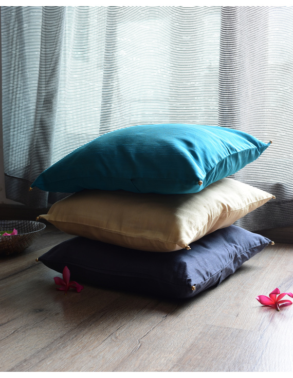 Beige Silk cushion cover with gold bead tassels: HCC38-1