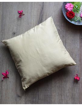 Beige Silk cushion cover with gold bead tassels: HCC38-HCC38-sm