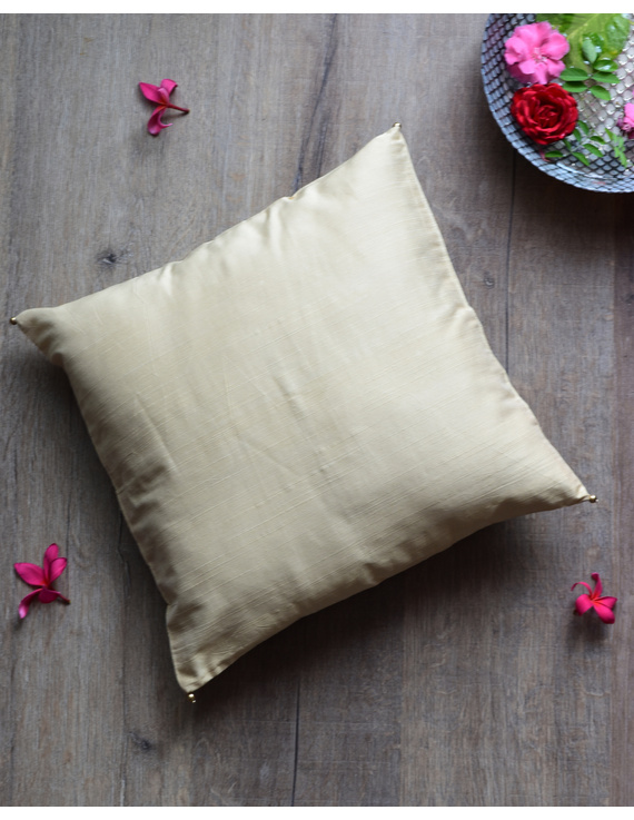 Beige Silk cushion cover with gold bead tassels: HCC38-HCC38
