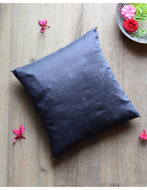 Grey Silk cushion cover with gold bead tassels : HCC39-HCC39