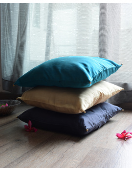 Blue Silk cushion cover with gold bead tassels : HCC40-1-sm