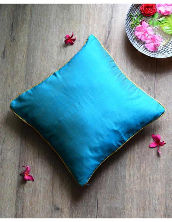 Blue Silk cushion cover with golden border : HCC42-HCC42