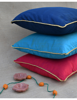 Blue Silk cushion cover with golden border : HCC42-1-sm