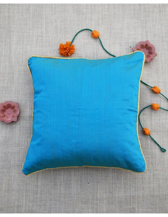 Blue Silk cushion cover with golden border : HCC42-2