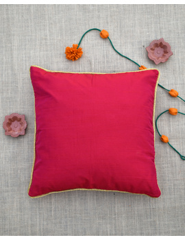 Red silk cushion cover with golden border : HCC43-HCC43-sm