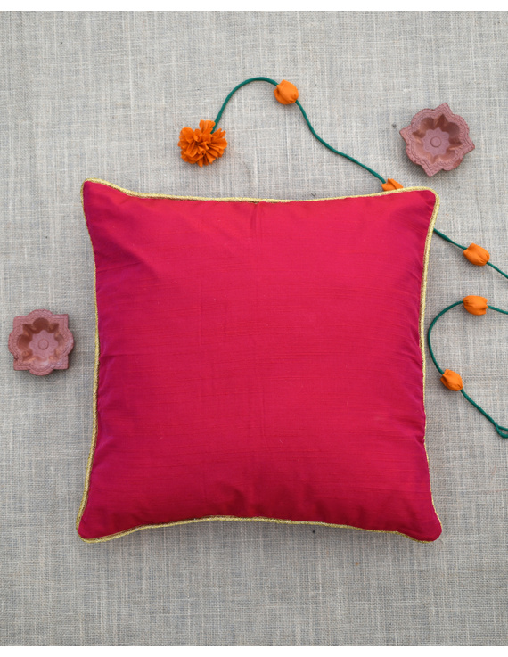 Red silk cushion cover with golden border : HCC43-HCC43