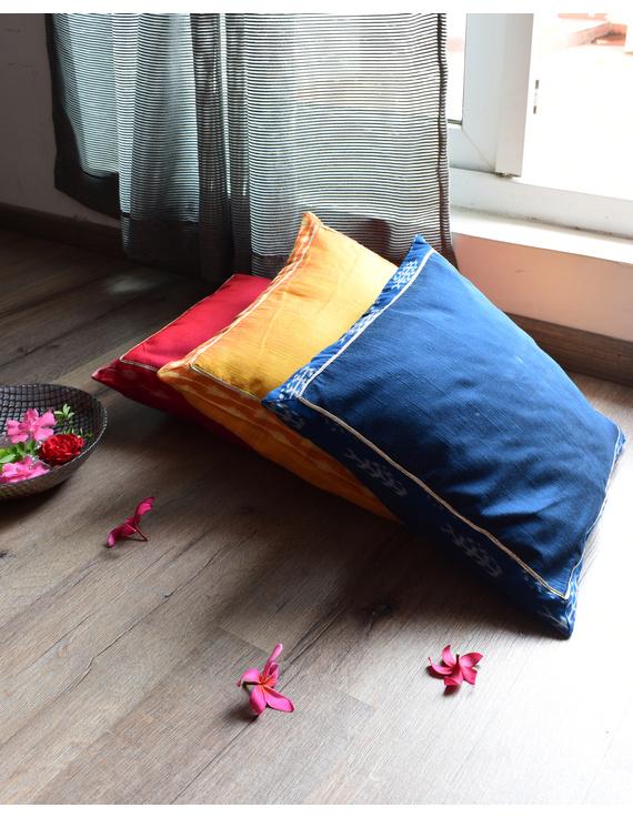 Indigo silk cushion cover with Ikat border : HCC44-1