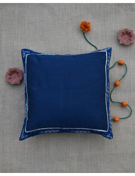 Indigo silk cushion cover with Ikat border : HCC44-2-sm