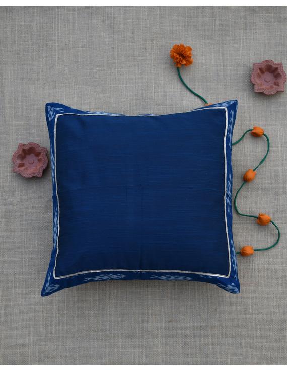 Indigo silk cushion cover with Ikat border : HCC44-2