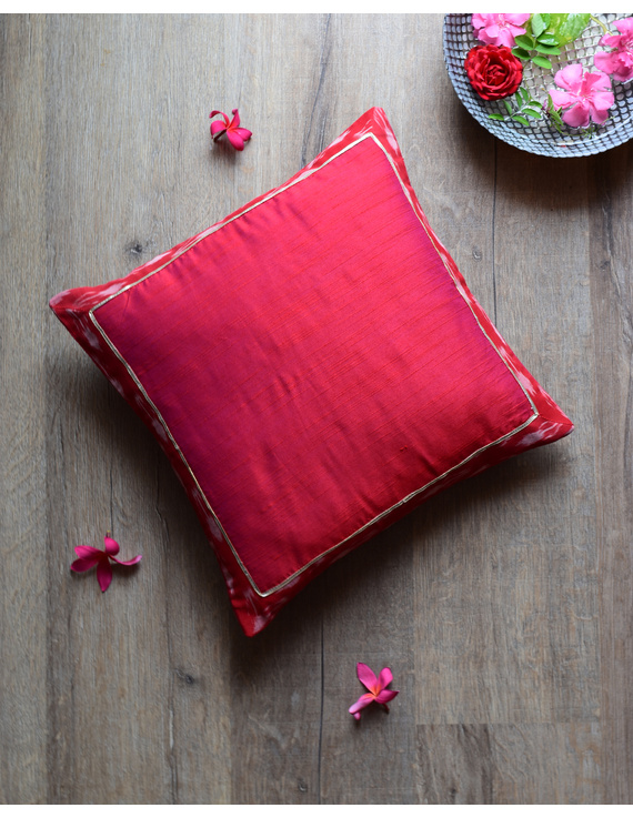 Red silk cushion cover with Ikat border : HCC45-HCC45