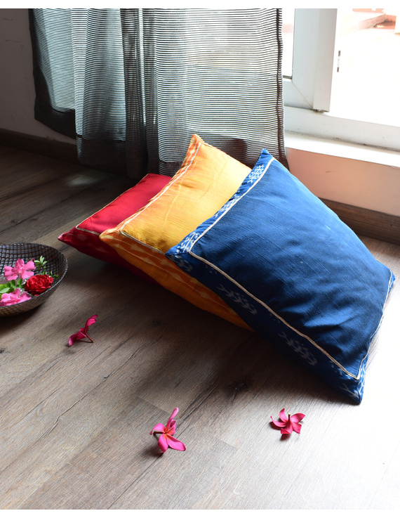 Yellow silk cushion cover with Ikat border : HCC46-1
