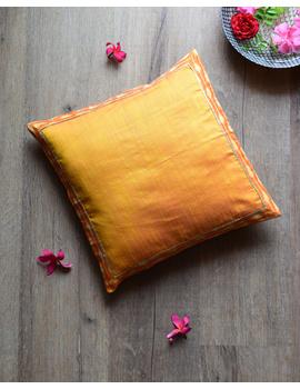 Yellow silk cushion cover with Ikat border : HCC46-HCC46-sm
