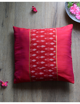 Red silk cushion cover with Ikat patch work : HCC47-HCC47-sm