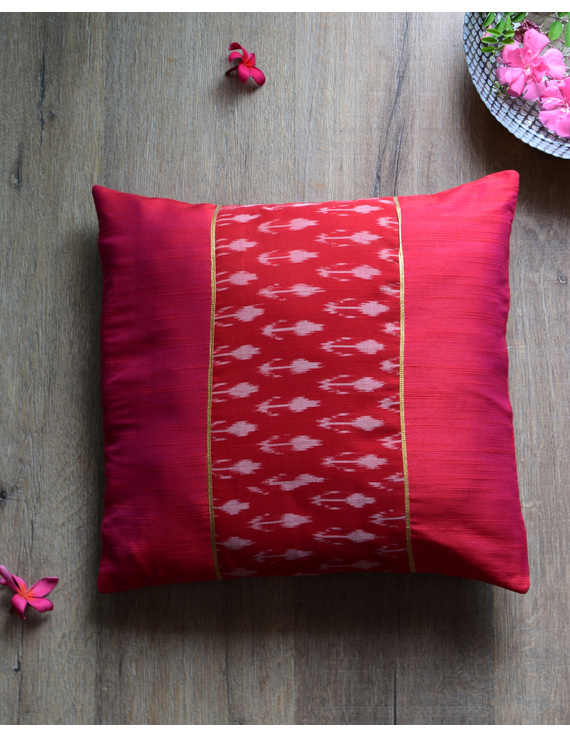 Red silk cushion cover with Ikat patch work : HCC47-HCC47