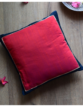 Red silk cushion cover with blue border : HCC48-HCC48-sm