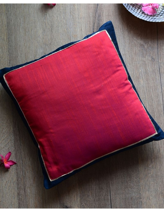 Red silk cushion cover with blue border : HCC48-HCC48