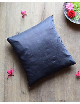 Grey Silk cushion cover with gold bead tassels : HCC39-HCC39D-sm
