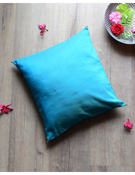 Blue Silk cushion cover with gold bead tassels : HCC40-HCC40D-sm