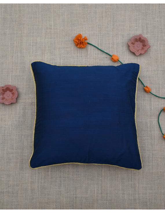 Indigo Silk cushion cover with golden border : HCC41-HCC41D