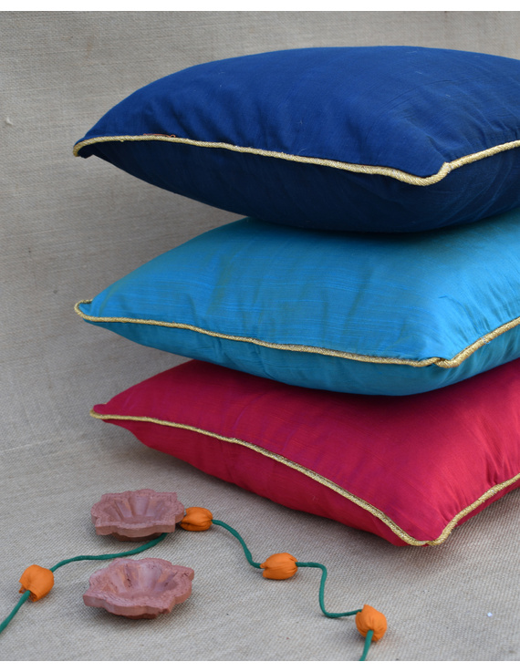Blue Silk cushion cover with golden border : HCC42-1