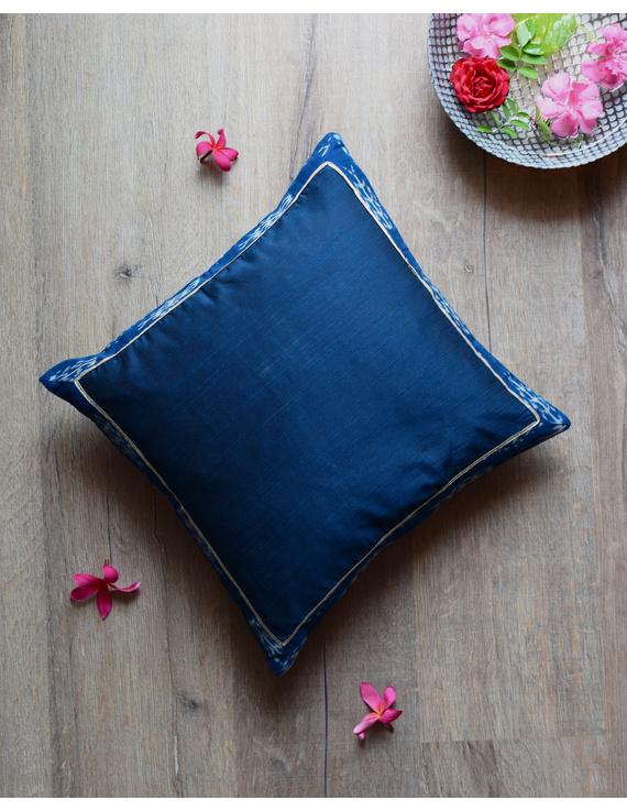 Indigo silk cushion cover with Ikat border : HCC44-HCC44D